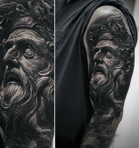 Gentleman With Half Sleeve Roman Statue Tattoo