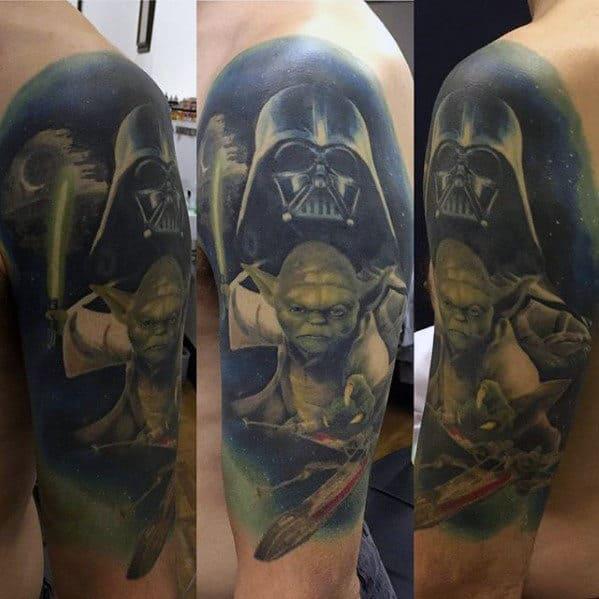 Gentleman With Half Sleeve Star Wars Themed Yoda And Darth Vader Tattoo