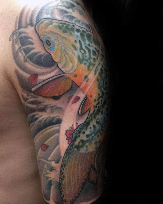 Gentleman With Half Sleeve Trout Japanese Tattoo