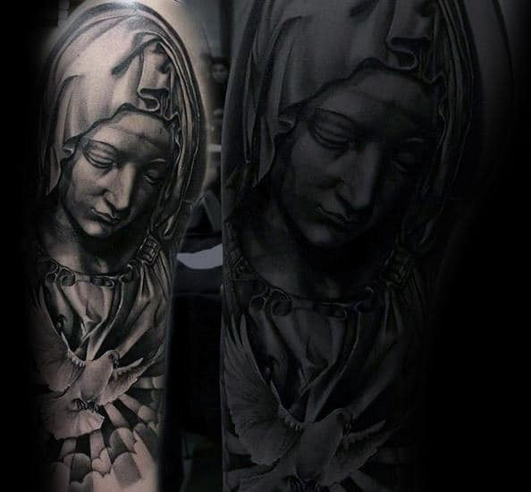 Gentleman With Half Sleeve Virgin Mary And White Dove Tattoo Design