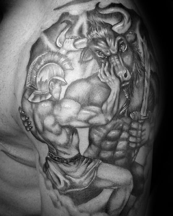 Gentleman With Half Sleeve Warrior Minotaur Tattoo