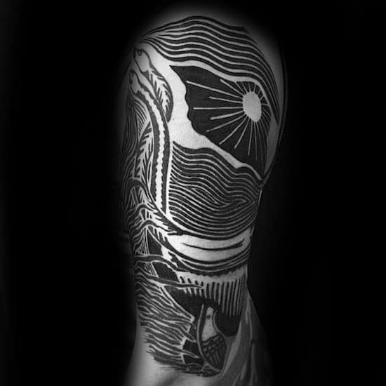 Gentleman With Half Sleeve Woodcut Loch Ness Monster Tattoo