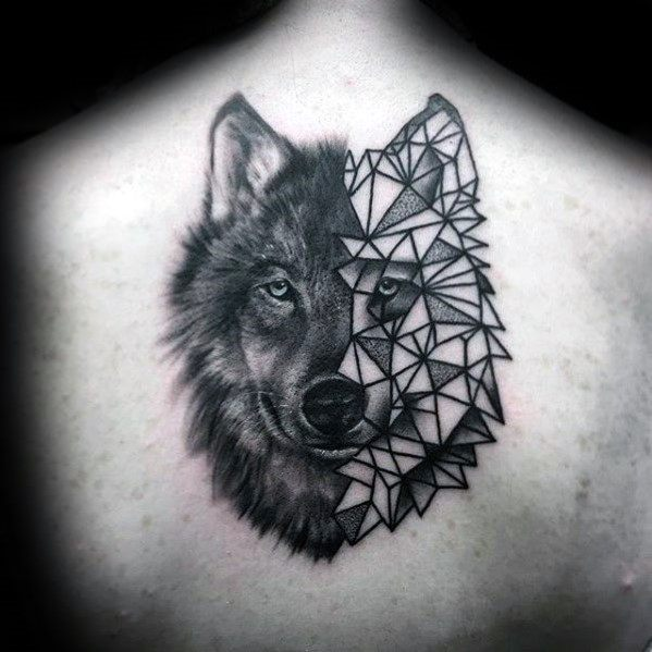 Gentleman With Half Wolf Geometric Head Unique Back Tattoo
