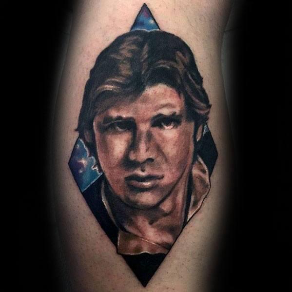 Gentleman With Han Solo Portrait Tattoo On Leg Calf
