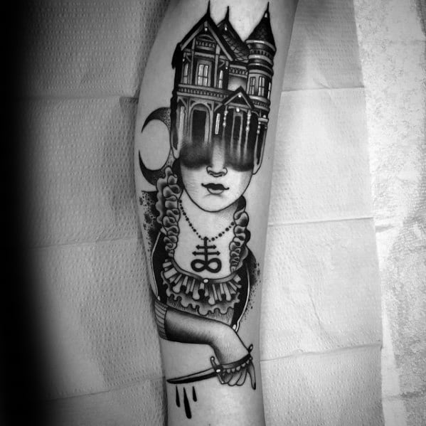 Gentleman With Haunted House Tattoo