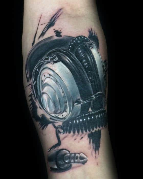 Gentleman With Headphones Tattoo Paint Brush Stroke Inner Forearm