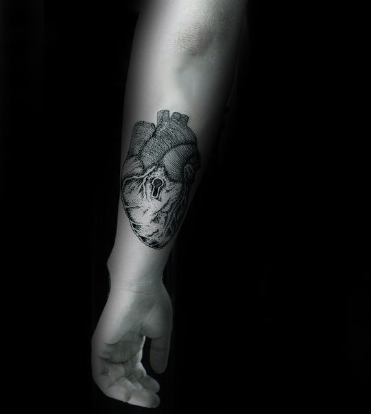 Gentleman With Heart Keyhole Forearm Tattoo Design