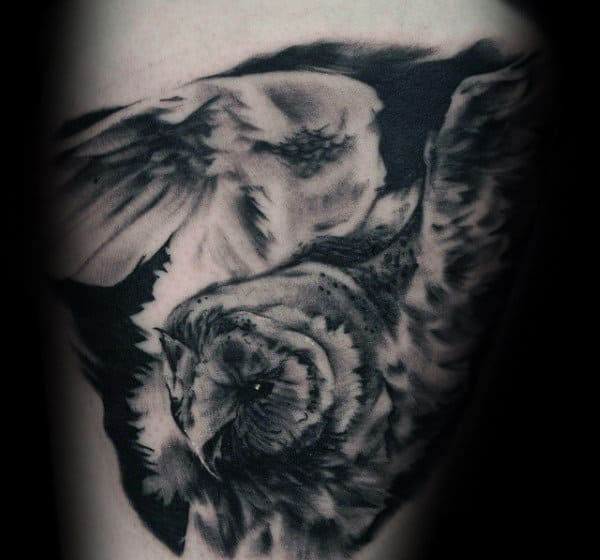 Gentleman With Heavily Shaded Barn Owl Thigh Tattoo