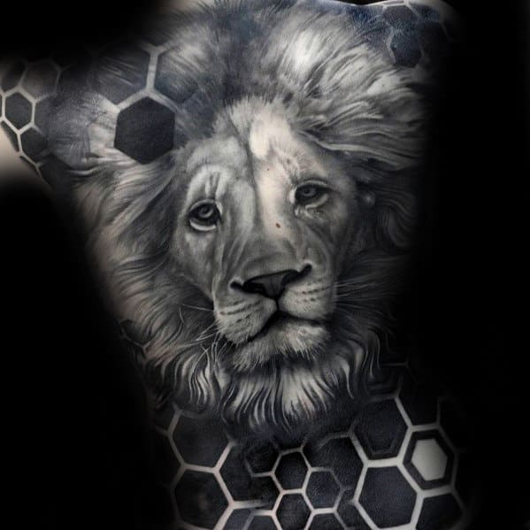 Gentleman With Hexagon Geometric Realistic Lion Head Tattoo On Back