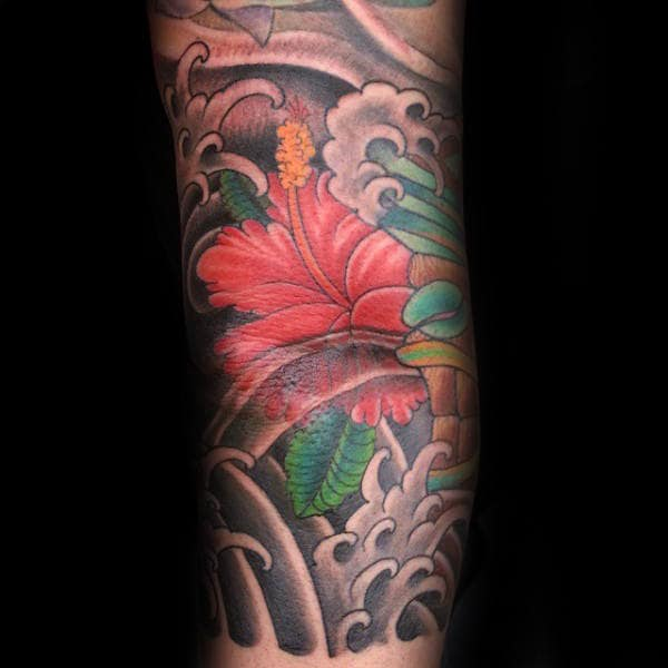 Gentleman With Hibiscus Flower Japanese Arm Tattoo