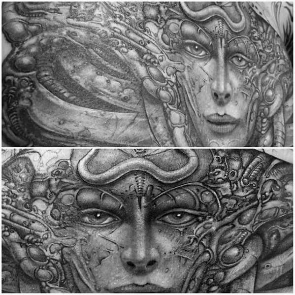 Gentleman With Hr Giger Tattoo