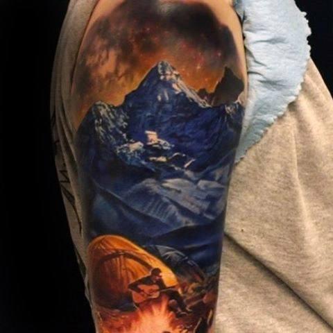 Gentleman With Hyper Realistic Tent Half Sleeve 3d Tattoo