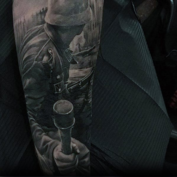 Gentleman With Hyper Realistic War Sleeve Tattoo