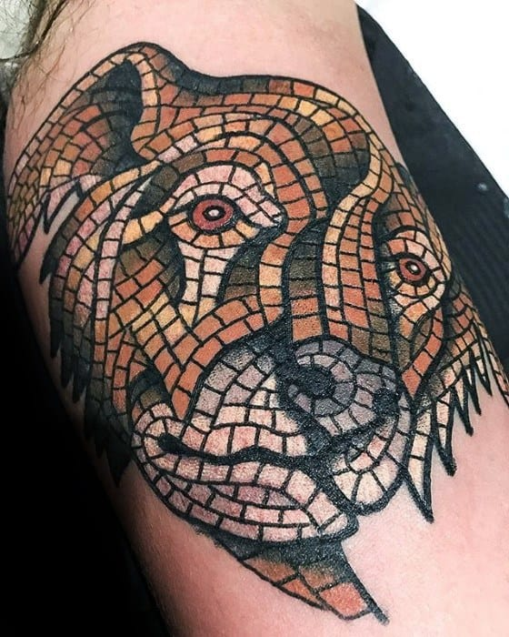 Gentleman With Inner Arm Bicep Animal Mosaic Tattoo