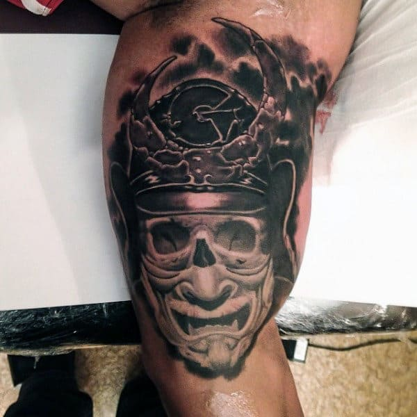 Gentleman With Inner Arm Japanese Mask Tattoo