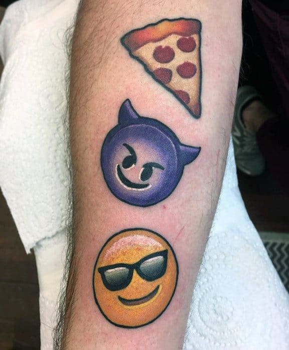 Gentleman With Inner Forearm Evil Sunglasses And Pizza Slice Emoji Tattoo