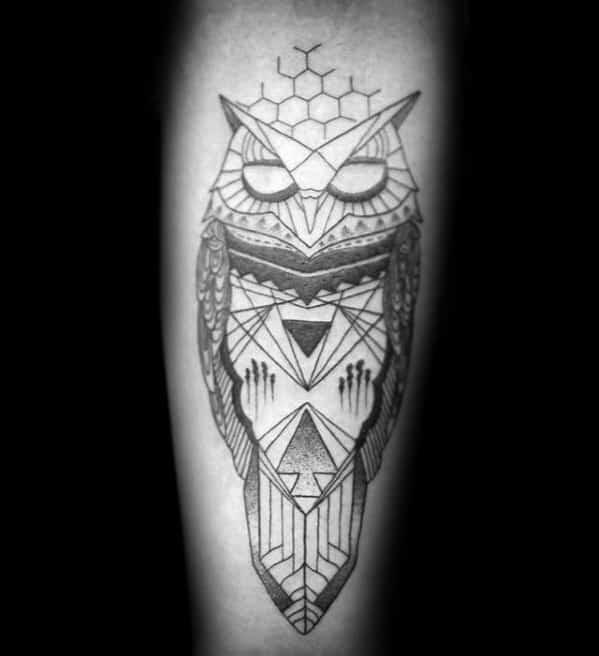 Gentleman With Inner Forearm Geometric Owl Tattoo Designs