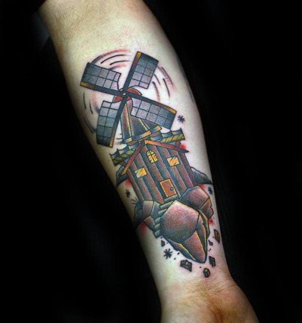Gentleman With Inner Forearm Old School Windmill Tattoos