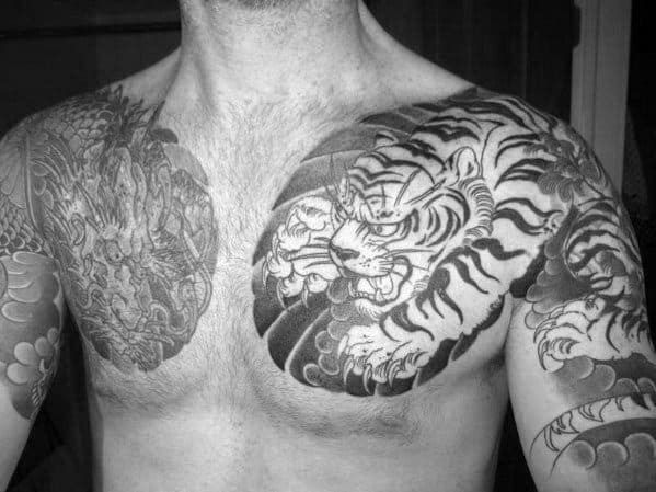 Gentleman With Japanese Chest Tiger Dragon Tattoo