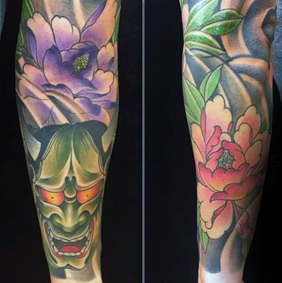 Gentleman With Japanese Hannya Mask Floral Sleeve Tattoo