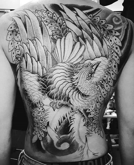 Gentleman With Japanese Phoenix Black And Grey Full Back Tattoo