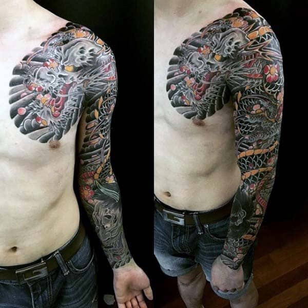 Gentleman With Japanese Tattoo Of Dragon Full Sleeve Design