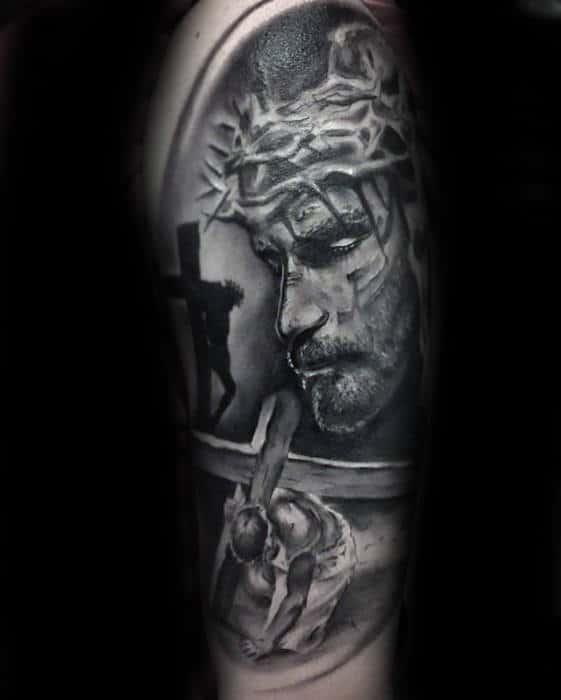 Gentleman With Jesus Carrying Cross Catholic Arm Tattoo