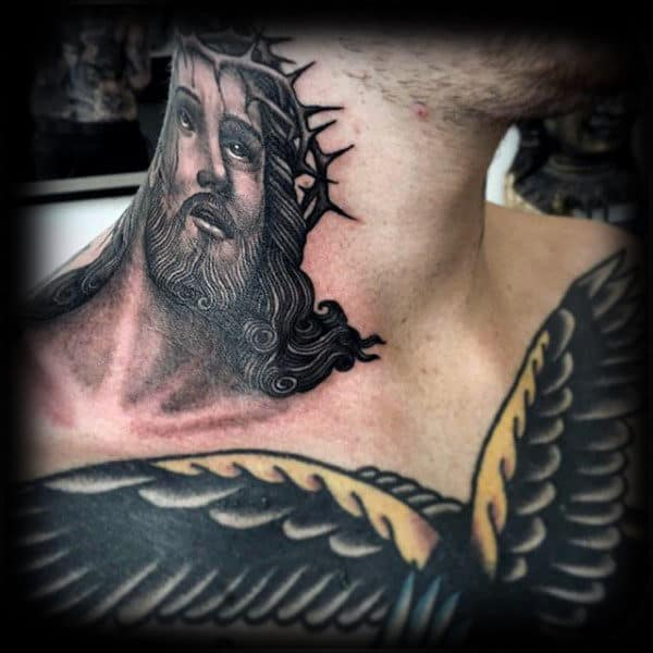 Gentleman With Jesus Neck Tattoo