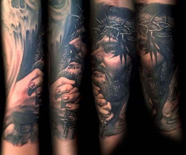 Gentleman With Jesus Praying Hands Rosary Tattoo Forearm Sleeve