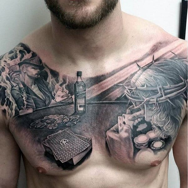 Gentleman With Jesus Tattoo Poker Themed On Upper Chest