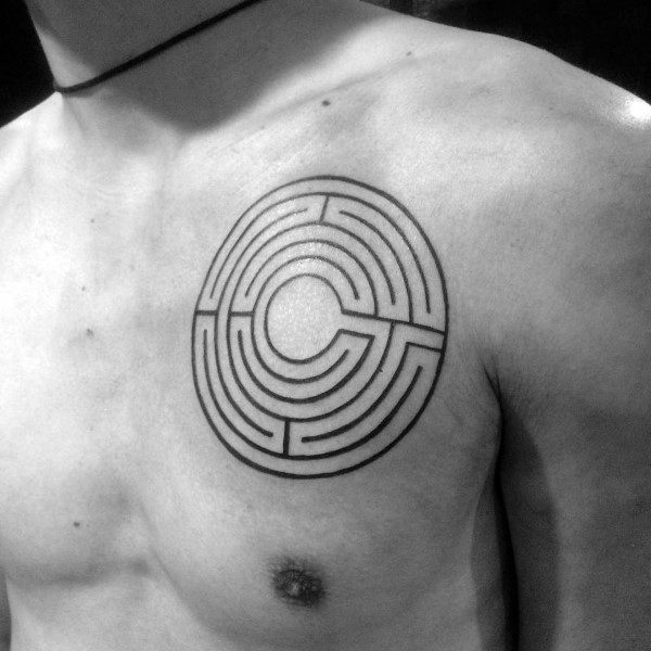Gentleman With Labyrinth Tattoo