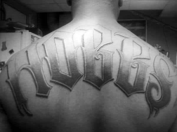 Gentleman With Last Name Shaded Upper Back Tattoo Design