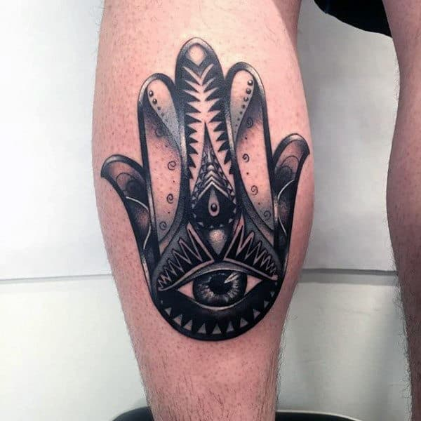 Gentleman With Leg Calf Tattoo Of Hamsa Hand