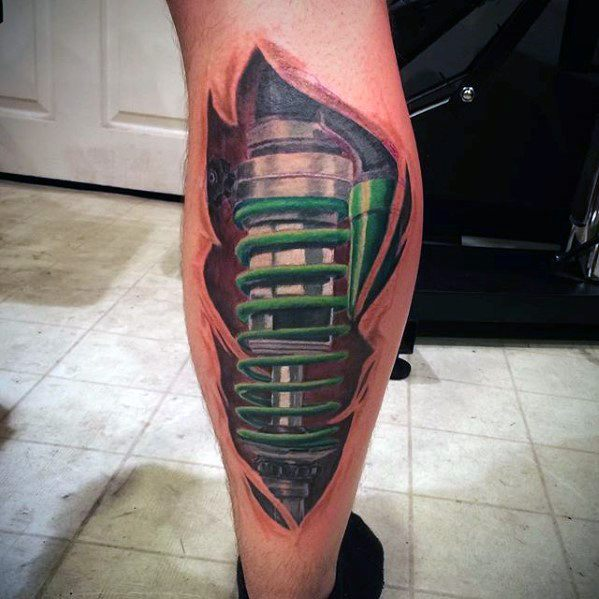 Gentleman With Leg Green Shock Absorber Coil Suspension Tattoo