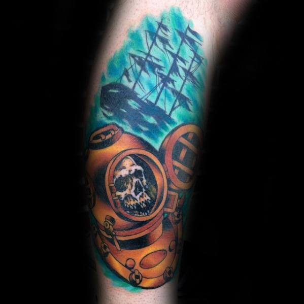 Gentleman With Leg Skull Diver And Shipwreck Tattoo