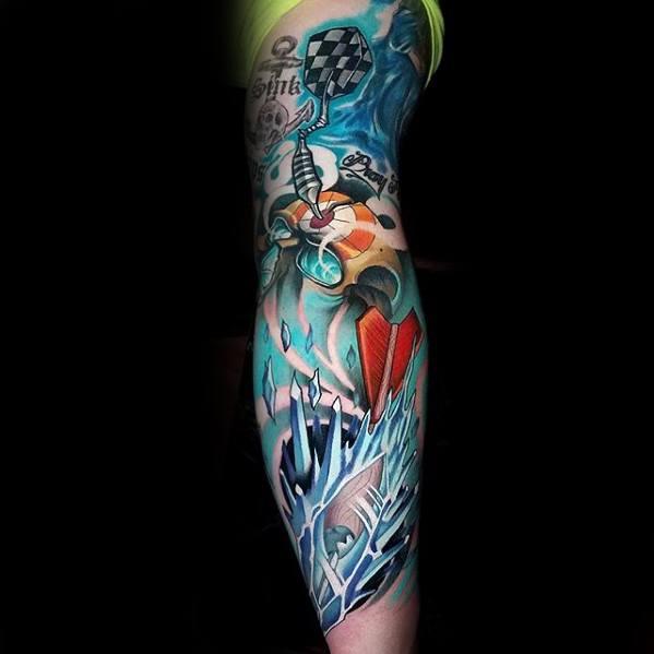 Gentleman With Leg Sleeve Dart Tattoo