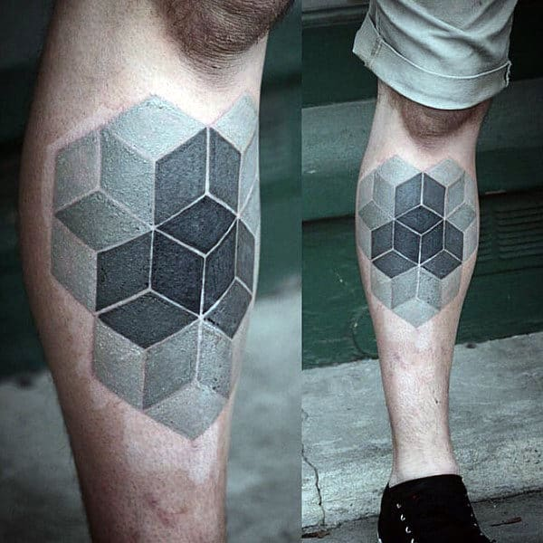 Gentleman With Leg Tattoo Of Cube Optical Illusion