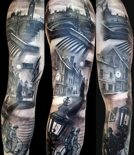 Gentleman With London Buildings Themed Full Tattoo Sleeve