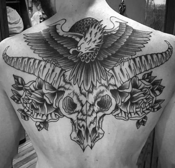 Gentleman With Longhorn Skull Roses And Eagle Traditional Upper Back Tattoos