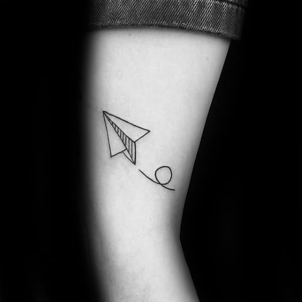 Gentleman With Lower Leg Paper Airplane Flying Tattoo