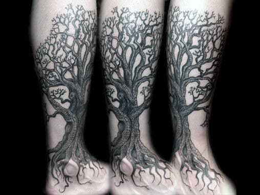 Gentleman With Lower Leg Tattoo Of Tree Roots