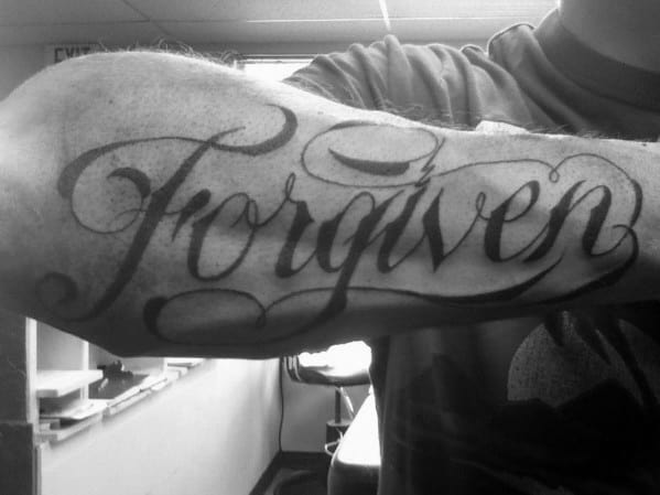 Gentleman With Manly Forgiven Outer Forearm Tattoo