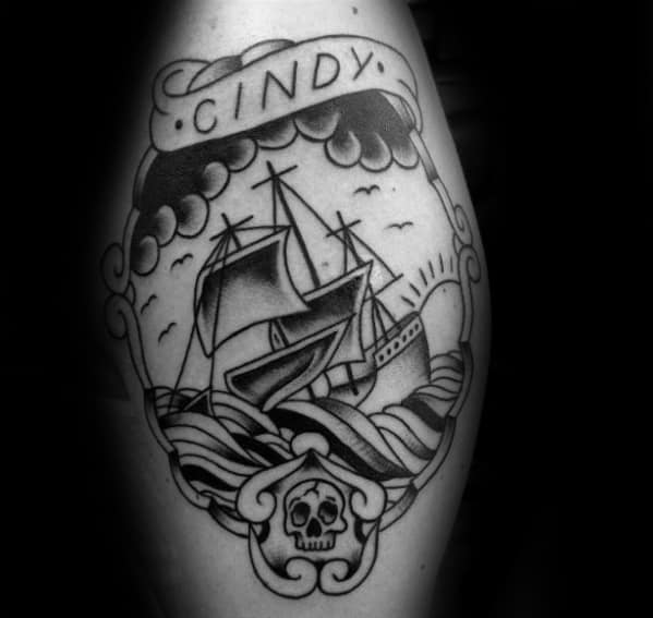 Gentleman With Memorial Sinking Ship Tattoo On Leg Calf