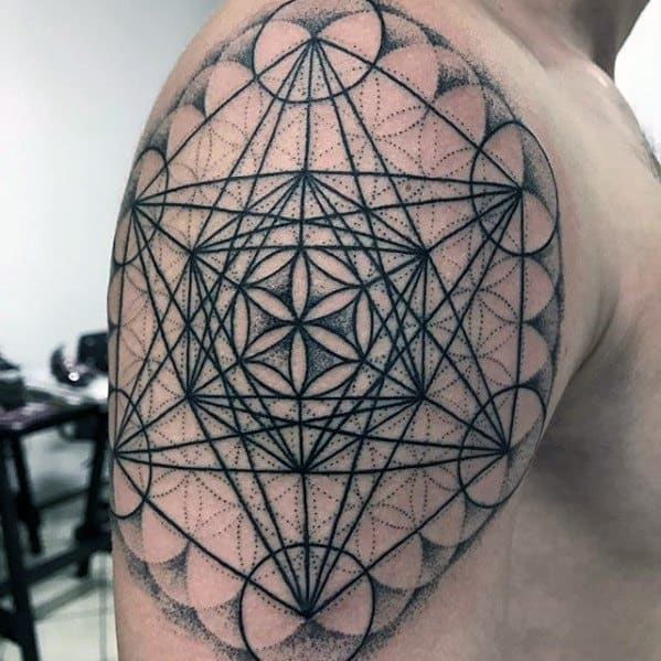 Gentleman With Metatrons Cube Tattoo