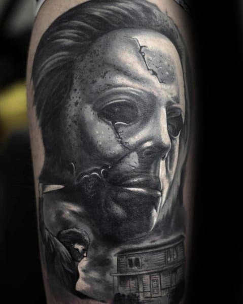 Gentleman With Michael Myers Tattoo 3d Hyper Realistic