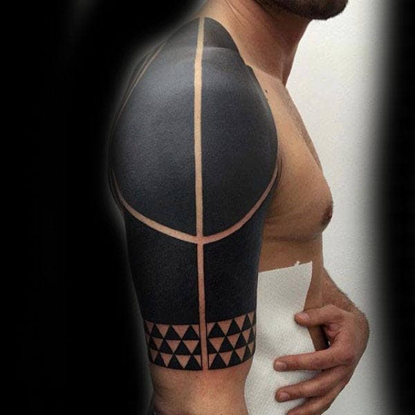 Gentleman With Modern Blackwork Tribal Tattoo For Arm