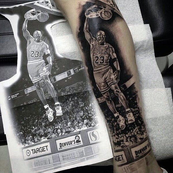 Gentleman With Modern Micheal Jordan Realistic Basketball Tattoo