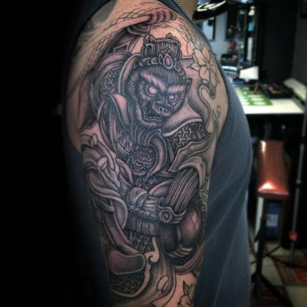 Gentleman With Monkey King Half Sleeve Tattoo Design
