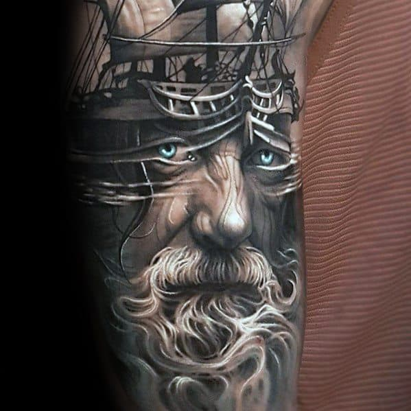 Gentleman With Morph Tattoo Sailing Ship And Man With Beard Sleeve