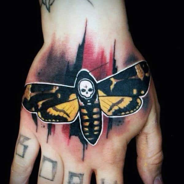 Gentleman With Moth Trash Polka Hand Tattoo